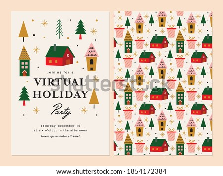 Virtual Holiday Party Invitation Template Design.  Royalty-Free Stock Photo #1854172384