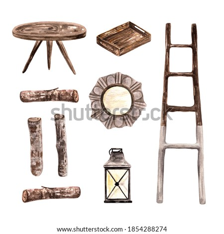 Watercolor set of cozy home decor. Hand drawn clipart of ladder, table, logs of wood, mirror, kitchen tray and lantern. For seasonal decoration, stickers, greeting cards, wedding invitations, posters