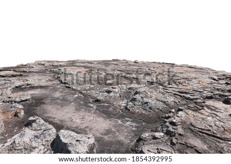 Cliff stone located part of the mountain rock isolated on white background. Royalty-Free Stock Photo #1854392995