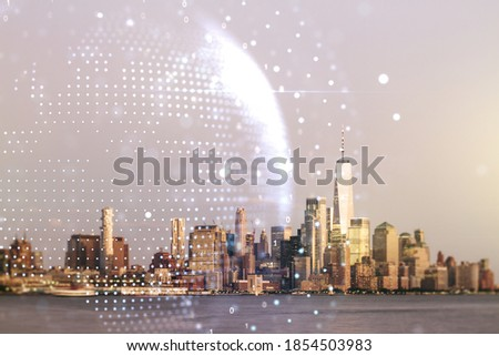 Double exposure of abstract digital world map on New York city skyscrapers background, research and strategy concept #1854503983