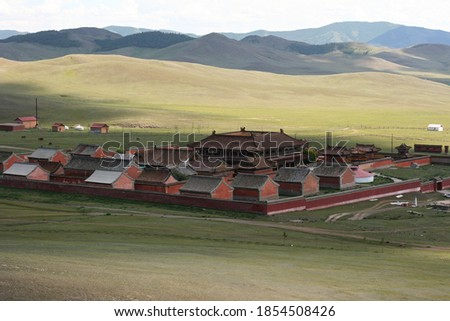 Amarbayasgalant Monastery in northern Mongolia. One of three largest Buddhist monastic centers in Mongolia in Iven Valley. #1854508426