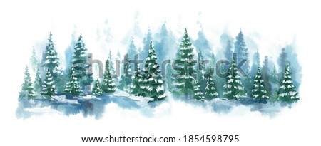 Watercolor Blue landscape of foggy forest hill. Evergreen coniferous trees. Wild nature, frozen, misty, taiga. Horizontal watercolor background. #1854598795