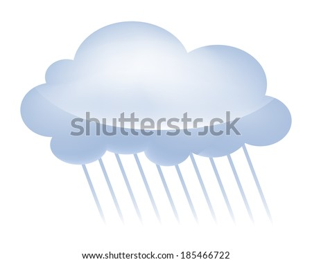Illustration of a grey storm cloud representing rainy weather. Raster.