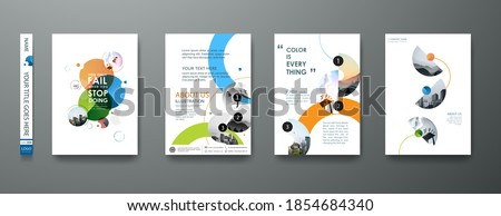 Portfolio geometric design vector set. Abstract blue liquid graphic gradient circle shape on cover book presentation. Minimal brochure layout and modern report business flyers poster template. Royalty-Free Stock Photo #1854684340