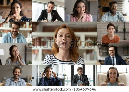 Focused young red-haired female employee leader holding video conference working call with happy diverse multiracial colleagues teammates, enjoying distant web brainstorming briefing meeting. Royalty-Free Stock Photo #1854699646