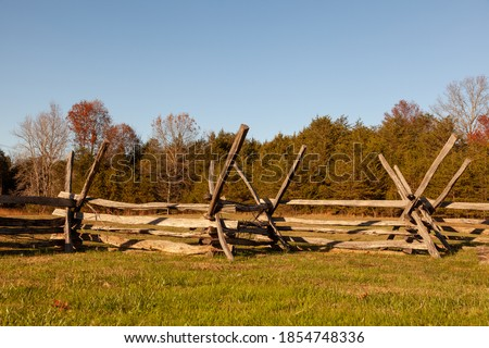 Historic Wooden Picket Fences (Period Fence) located at Manassas National Battlefield Park. These defensive structures were used against Cavalry charge during the Battle of Bull Run in US civil war. Royalty-Free Stock Photo #1854748336