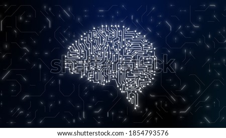 Illustration of human brain. Artificial intelligence. Technology innovation. Futuristic tech concept. Graphics. Brains anatomy. Education online.
