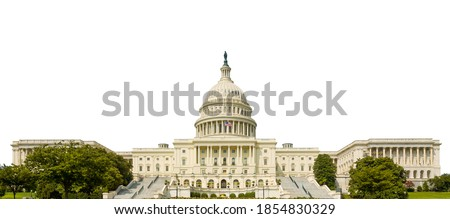 The United States Capitol, or Capitol Building (Washington, USA) isolated on white background.  Royalty-Free Stock Photo #1854830329
