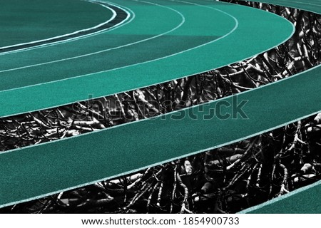 curve white blue curve running tract with tree root in sport stadium background #1854900733