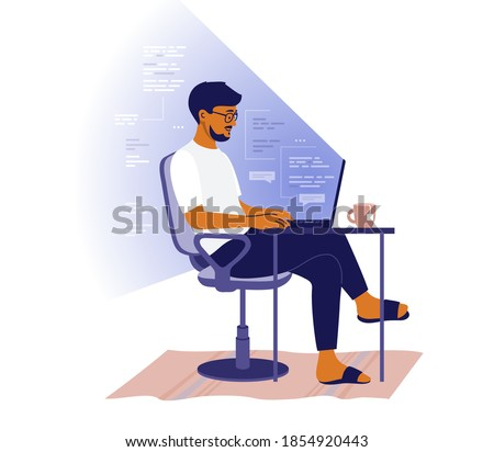 Backend or frontend developer coding and chatting by laptop. Man sitting at table and working online. Home office of programmer. Guy freelancer and program code in light of screen. Vector illustration Royalty-Free Stock Photo #1854920443