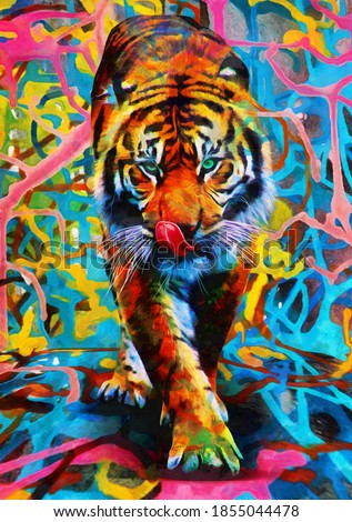 modern oil painting of tiger, artist collection of animal painting for decoration and interior, canvas art, abstract.