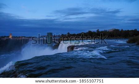 The Niagara falls  and view of Toronto Town at Buffalo, USA #1855107751