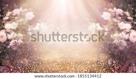 Fantasy pink Roses Flowers bloom and Road leads forward in Fabulous mystical Paradise Garden, mysterious Fairy Tale Summer floral Background with glowing sun Rays, amazing Heaven Nature Landscape Royalty-Free Stock Photo #1855134412