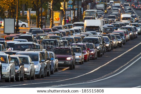 cars, city traffic, traffic jams, a stream of cars Royalty-Free Stock Photo #185515808