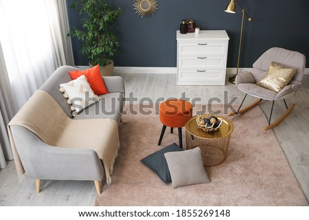 Cozy living room interior inspired by autumn colors, above view