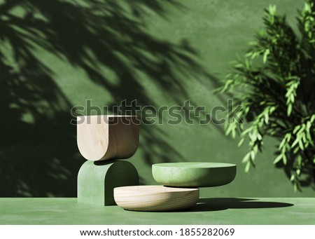 3D  wooden podium display with leaf shadow. Copy space green background. Cosmetics or beauty product promotion mockup.  Natural stone step pedestal. Trendy minimalist banner, 3D render illustration.