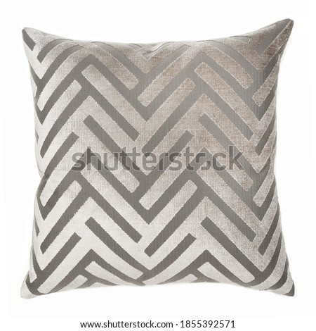 Square Shape Chevron Throw Pillow Isolated on White. Plush Decorative Stitched Cushion with Feather Fill & Zipper Upholstered Zinc Polyester. Snug Lush Toss Pillow Front View. Interior Decoration Royalty-Free Stock Photo #1855392571