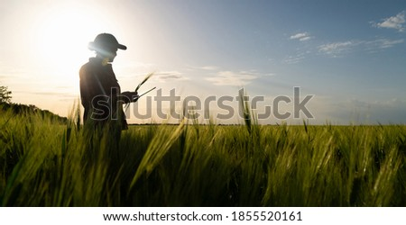 A woman farmer examines the field of cereals and sends data to the cloud from the tablet. Smart farming and digital agriculture. Royalty-Free Stock Photo #1855520161