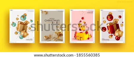 Set of Christmas and New Year holiday gift cards. Xmas banners, web poster, flyers and brochures, greeting cards, group bright covers. Design realistic Christmas decoration objects gift box and ball. #1855560385