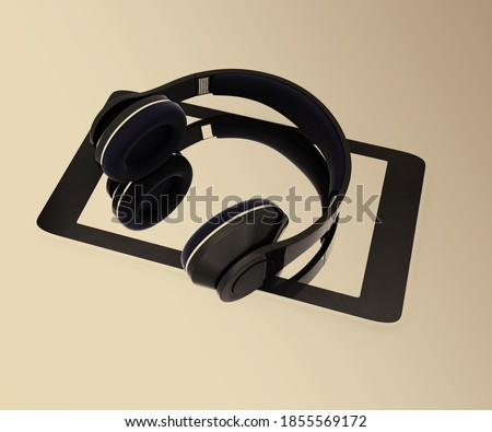 Creative cellphone with headphones. Portable audio concept. 3d rendered on toned background