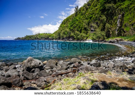Anse des Cascades bay in Sainte-Rose on Reunion Island Royalty-Free Stock Photo #1855638640