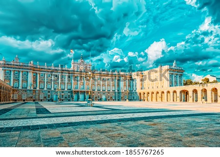 Royal Palace in Madrid (Palacio Real de Madrid) and Armory Square in the evening time. Spain. Royalty-Free Stock Photo #1855767265