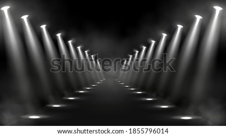 Spotlights background, glowing stage lights, white beams for red carpet award or gala concert. Empty illuminated way for presentation, runway with lamp rays with smoke for show, Realistic 3d vector Royalty-Free Stock Photo #1855796014