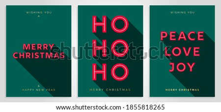 Christmas Card Design Template. Merry Christmas Card Set with 3D Creative Text Typography. Merry Christmas, HO HO HO, Peace Love Joy. Luxury Elegant Modern Minimal Style. Vector Christmas Cards EPS10 Royalty-Free Stock Photo #1855818265