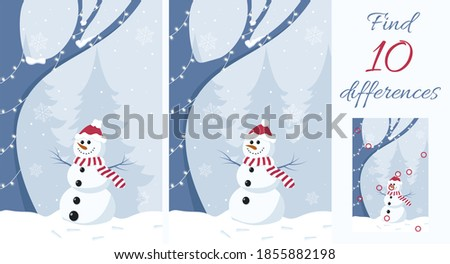 Find the differences. Educational game for children. Snowman in winter forest. Royalty-Free Stock Photo #1855882198