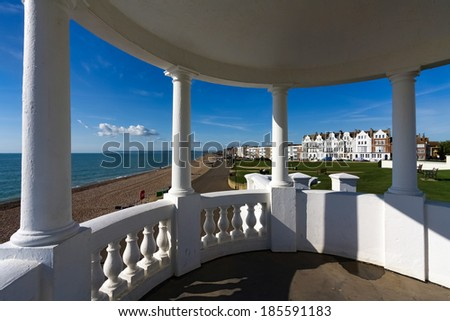 BEXHILL-ON-SEA, EAST SUSSEX/UK - OCTOBER 17 : Colonnades in grounds of De La Warr Pavilion in Bexhill-On-Sea on October 17, 2008. Unidentified people. #185591183