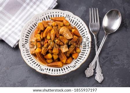 Bamya, Turkish traditional food. (Turkish cuisine) Homemade Food Okra in Plate. Organic Food.
