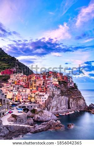 Manarola Village at Sunrise, Cinque Terre, Italy    Royalty-Free Stock Photo #1856042365