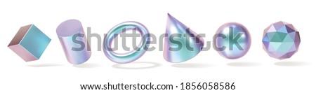 Iridescent Geometric Shapes set. Modern 3d hologram multicolor metal object, futuristic neon gradient design. Vector concept Royalty-Free Stock Photo #1856058586