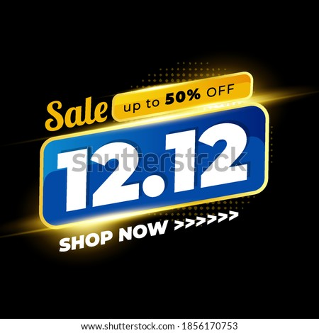 12.12 Shopping day sale Poster background.  12 December sale poster template with Black Colour, Promotion Mega Sale, Super Sale 12.  Vector illustration Royalty-Free Stock Photo #1856170753