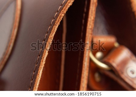 Fashionable brown women's bag made of genuine leather close-up. Leather bag texture. Fashion concept Details of leather bag belt metal buckle clasp thread stitching macro shot Stylish female accessory Royalty-Free Stock Photo #1856190715