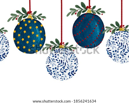 Christmas seamless blue baubles border, hand painted watercolor illustration with Christmas ornaments, Christmas decoration pattern for banner or fabric