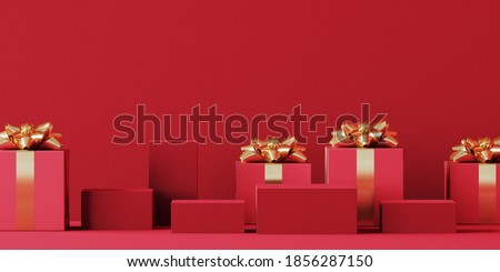Minimal product background for Christmas, New year and sale event concept. Red gift box with golden ribbon bow on red background. 3d render illustration. Clipping path of each element included.