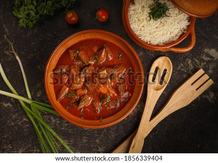 Okra in spicy sauce with steamed rice