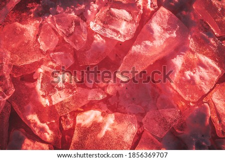 texture pieces of red ice on the river #1856369707