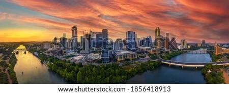 Austin skyline with brilliant sunset