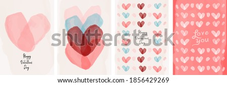Set of vector cards for Valentine's day. Watercolor hearts drawn by a brush. Simple, minimalistic, holiday cards. Royalty-Free Stock Photo #1856429269