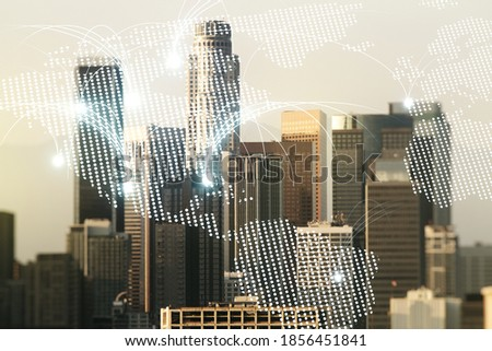 Double exposure of abstract digital world map hologram with connections on Los Angeles city skyscrapers background, research and strategy concept #1856451841