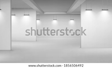 Art gallery empty interior, 3d room with white walls, floor and illumination lamps. Museum passages with lights for pictures presentation, photography contest exhibition hall, Realistic vector mock up Royalty-Free Stock Photo #1856506492