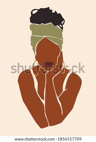Abstract woman portrait. Afro american black skin girl. Fashion illustration. Royalty-Free Stock Photo #1856517709