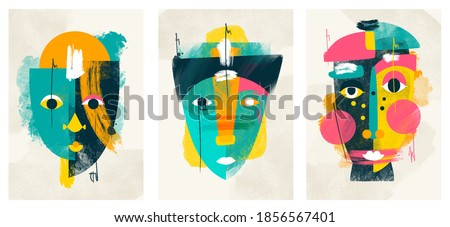 face portrait abstraction wall art illustration design vector. creative shapes design graphics with textured geometric shapes. abstract geometric face minimalism. girl or woman silhouette cubism.  Royalty-Free Stock Photo #1856567401