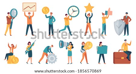 Tiny business people. Employee women and men with big money, light bulb, star, gear and magnifier. Office small work characters vector set. Illustration people success with money and star Royalty-Free Stock Photo #1856570869