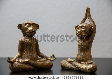 Two gold colored meditating monkey statues sitting on a black surface, the background of the picture is white and blurry.