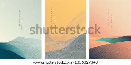 Japanese background with line wave pattern vector. Abstract template with geometric pattern. Mountain and ocean object in oriental style.  Royalty-Free Stock Photo #1856827348