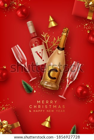 Merry Christmas and Happy New Year. Red Xmas Background design realistic alcohol bottle of champagne and wine, festive decorative objects gift box, balls, Christmas tree and pine tree, golden confetti #1856927728