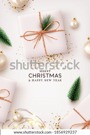 Merry Christmas and Happy New Year. Xmas Background design lights garland, realistic gifts box, white balls and glitter gold confetti. Christmas poster, holiday banner, lush green tree and pine. #1856929237
